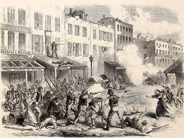Sketch of the New York draft riots from an 1863 issue of The Illustrated London News. Courtesy of the Internet Archive.