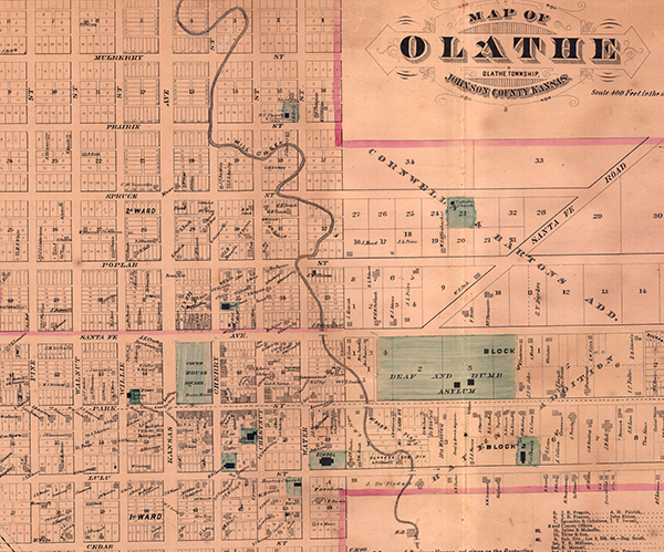 An 1874 plat of Olathe, Kansas. Courtesy of the Johnson County Museum.