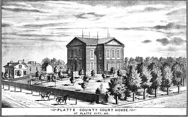 The Platte County Courthouse in Platte City, Missouri. Courtesy of the State Historical Society of Missouri - Columbia.