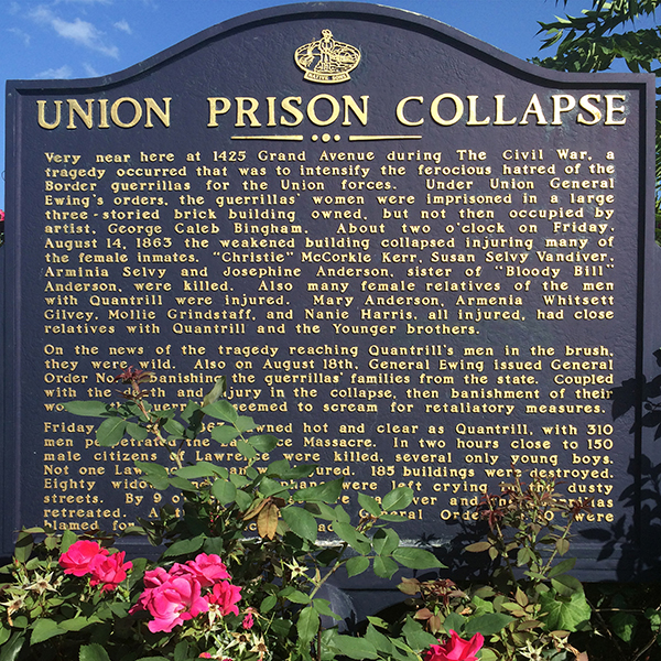 Historical marker at the site of the Union Prison collapse in Kansas City, Missouri. Photograph by Cody Kauhl.