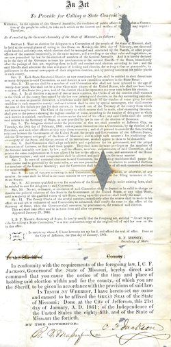 Act to Provide for Calling a State Convention, 1861. Courtesy of the Missouri State Archives.