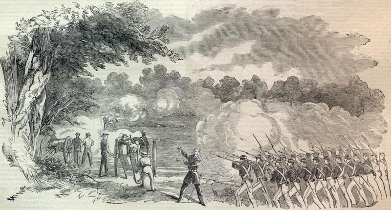 This sketch from an 1863 issue of Harper's Weekly depicts Nathaniel Lyon leading his troops to victory in the Battle of Boonville.