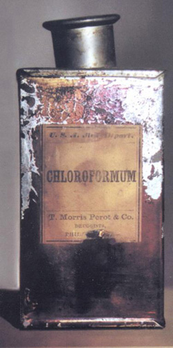 Chloroform tin used by Civil War surgeons to render wounded soldiers unconscious. Courtesy of the National Museum of Civil War Medicine.