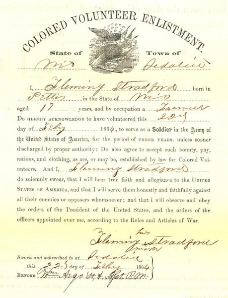 Fleming Stradford's enlistment papers from February 22, 1864. Image courtesy of the National Archives at Kansas City.