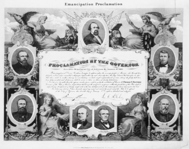 Commemorative print celebrating the emancipation of Missouri slaves. Image courtesy of the Library of Congress.