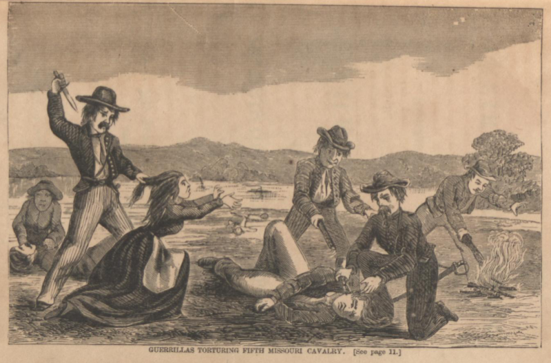 Illustration of guerrillas allegedly torturing members of the 5th Missouri Cavalry. Image courtesy of the St. Joseph Public Library.