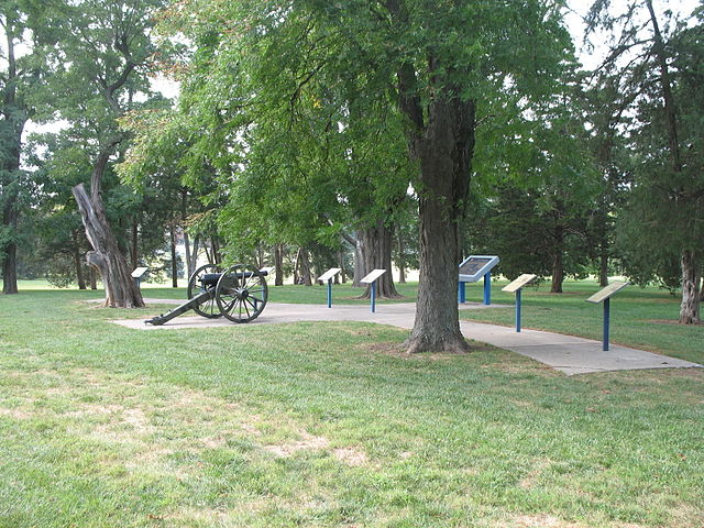 The cannon standing in Kansas City's Loose Park marks the spot where Confederate Major General Sterling Price commanded his army in the decisive 1864 Battle of Westport. This work is licensed under the Creative Commons Attribution-ShareAlike 3.0 License.