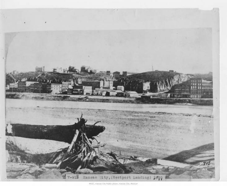 Westport Landing in 1855. Courtesy of the Missouri Valley Special Collections.