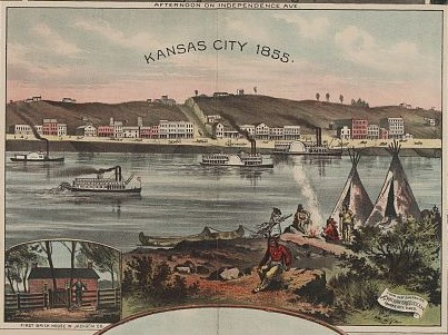 Illustration of Kansas City, Missouri in 1855. Courtesy of the Library of Congress.