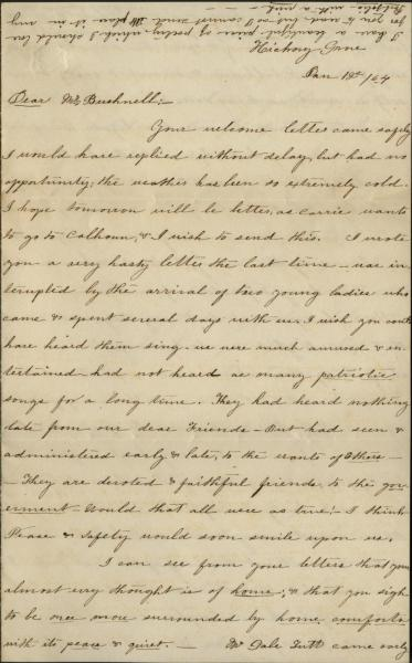 Letter from Eugenia Bronaugh to John A. Bushnell, January 12, 1864. Courtesy of the Missouri Valley Special Collections.