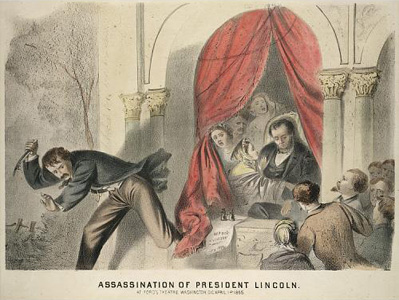 Painting of John Wilkes Booth fleeing the scene of President Lincoln's assassination. Image courtesy of the Smithsonian Institution.