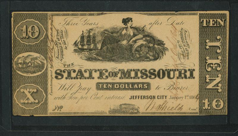 $10 Missouri Note, issued January 1, 1864. Courtesy of St. Joseph Museums, Inc.