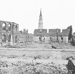 Secession Hall lying in ruins in April 1865, Charleston, South Carolina. Image courtesy of the Library of Congress.