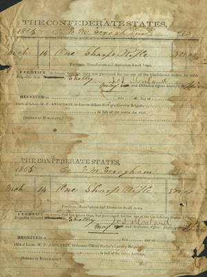 'Order for Sharps Rifle' for General Joseph O. Shelby. Image courtesy of the Bushwhacker Museum, Nevada, Missouri.