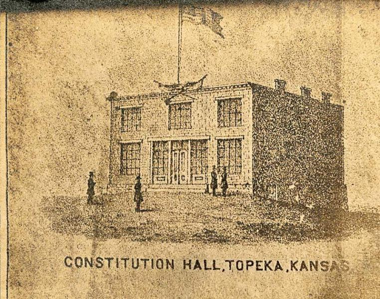 A drawing of Constitution Hall, where the Topeka Constitutional Convention met in 1855. Image courtesy of the Kansas Historical Society.