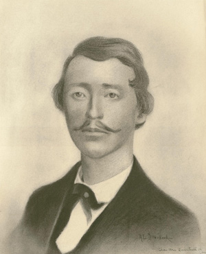 Charcoal drawing of William Clarke Quantrill, by A.L. Dillenbeck. Courtesy of the Missouri Valley Special Collections.