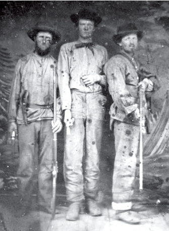Thomas H. Brown, William Brown and Abe Brown, Confederate soldiers who fought at the Battle of Lone Jack. Courtesy of the Lone Jack Historical Society.