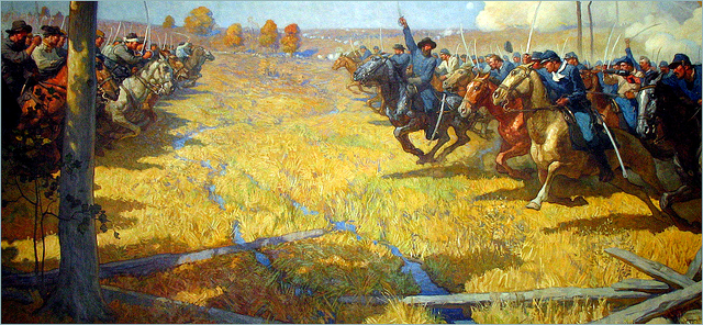 Mural of the Battle of Westport on display at the Missouri State Capitol. Painted by Newell Convers Wyeth. Courtesy of Roger Rowlett.