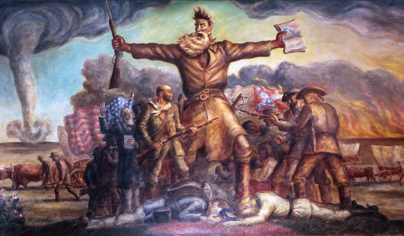 "John Brown in ""The Tragic Prelude,"" displayed at the Kansas State Capitol in Topeka. Painted by John Steuart Curry, ca. 1938-1940. Image from Wikimedia Commons."