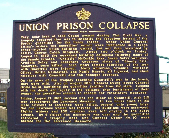 Historical marker at the site of the Union Prison collapse in Kansas City, Missouri, near the present-day Sprint Center. Photograph by William Fischer, Jr. Courtesy of www.hmdb.org.