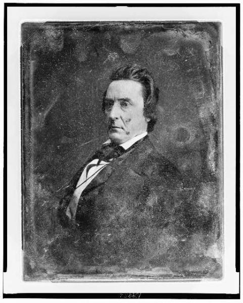 "David Rice Atchison personally led Missouri ""border ruffians"" in their often-violent efforts to secure Kansas as a slave state, including an attack on Lawrence, Kansas in 1856. Photograph by Matthew Brady. Courtesy of the Library of Congress."