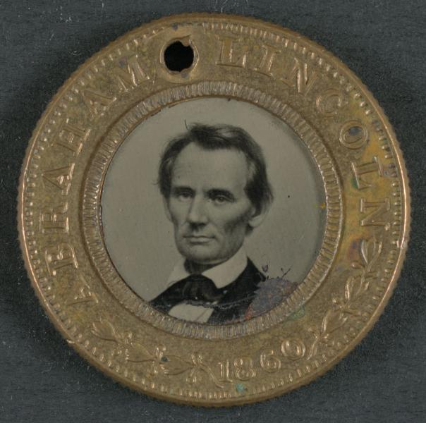 An 1860 Abraham Lincoln campaign button. Courtesy of the Library of Congress.