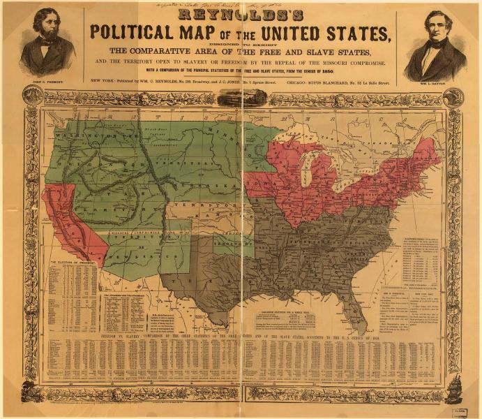 Politische Karte mit der Abgrenzung der Sklavenstaaten, freien Staaten und offenen Territorien, ca. 1856. Mit freundlicher Genehmigung der Library of Congress.