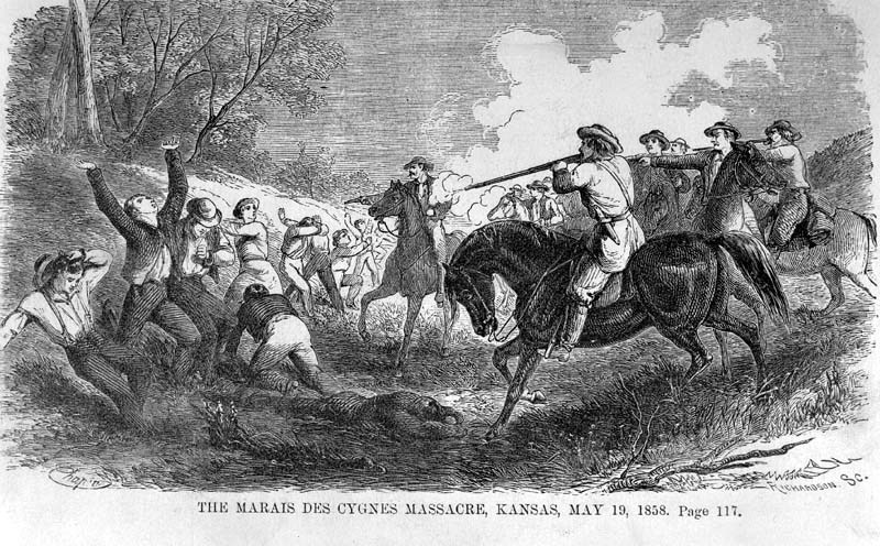 "Although attacks and reprisals continued until the outbreak of the Civil War, the Marais des Cygnes Massacre was the last major violent episode of the ""Bleeding Kansas"" period. Image courtesy of the Kansas Historical Society."