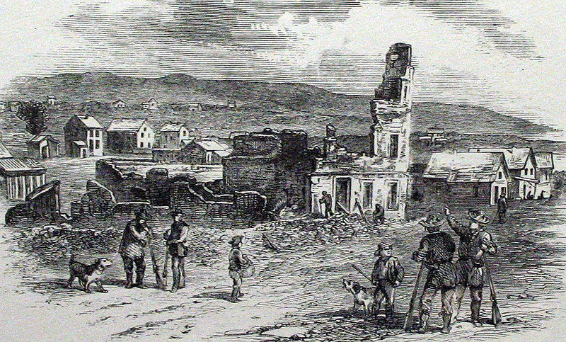 Ruins of the Free State Hotel after the Sacking of Lawrence. The New England Emigrant Aid Company established the town of Lawrence and set up their headquarters at the Free State Hotel. Image courtesy of the Internet Archive.