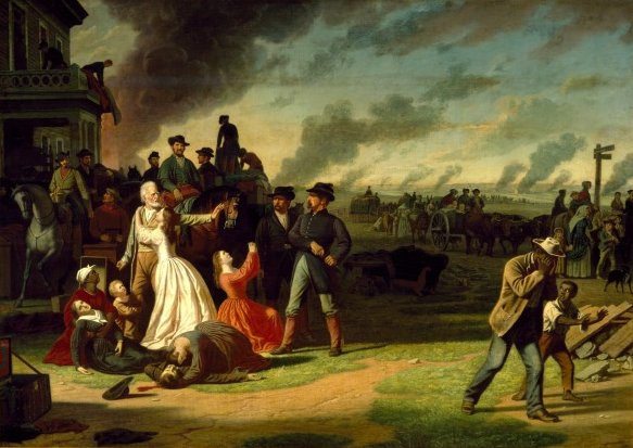 Union officer George Caleb Bingham depicts the Red Legs (shown center) negatively in his painting, Martial Law (or Order No. 11). Courtesy of State Historical Society of Missouri - Columbia.