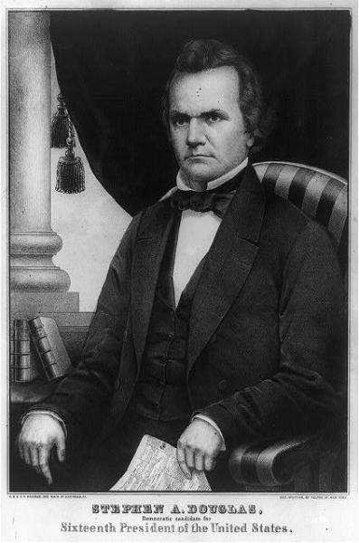 In 1854, Democratic Senator Stephen A. Douglas, of Illinois, the chief proponent of popular sovereignty. Courtesy of the Library of Congress.