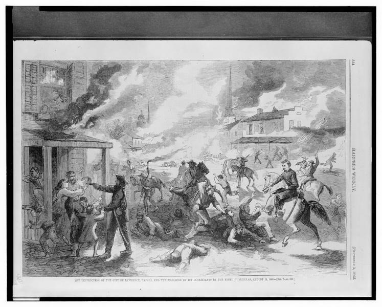 An illustration of Quantrill and his band of guerrillas raiding Lawrence, first published in Harper's Weekly on September 5, 1863. Courtesy of the Library of Congress.