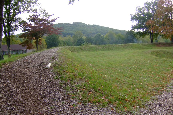 Modern view of Fort Davidson, where Gen. Thomas Ewing battled with Sterling Price and his Army of Missouri. The crater is still visible on the right side of the photograph, and Pilot Knob can be seen in the background. Image courtesy of Valerie Holifield.