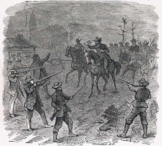 "J.N. Holloway's the ""Rescue of Branson"" portrays a posse of Free-Staters rescuing Jacob Branson after his arrest. The murder of Charles Dow on Branson's land sparked the Wakarusa War. Image courtesy of the Kansas Historical Society."