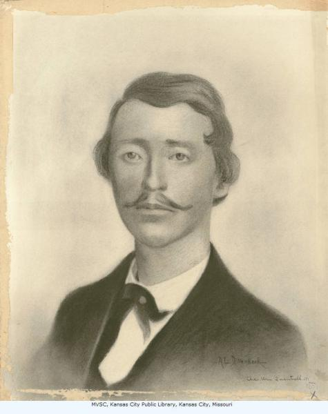 Charcoal drawing of William Clarke Quantrill, by A.L. Dillenbeck. Courtesy of the Missouri Valley Special Collections, Kansas City Public Library.