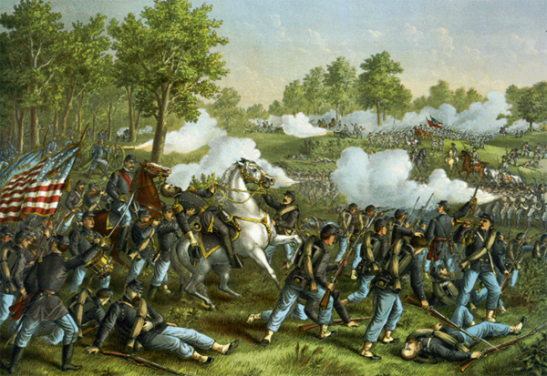 A Kurz and Allison painting of the Battle of Wilson's Creek, where Generals Sterling Price and Ben McCulloch led Confederate troops to victory in 1861. Courtesy of the Library of Congress.