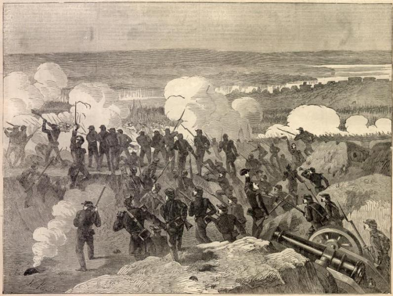 Drawing of the First Battle of Lexington, aka the Battle of the Hemp Bales. Courtesy of Harper's Weekly.