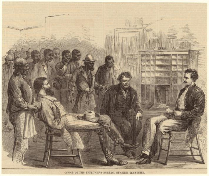 The Freedmen's Bureau provided support for African Americans' transition from slavery to freedom. Image from Wikimedia Commons.