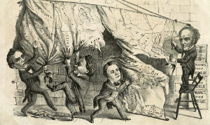 A political cartoon satirizing Lincoln, Douglas, Breckinridge, and Bell, the four candidates vying for office in the 1860 presidential campaign. Courtesy of the Library of Congress.