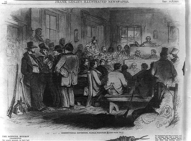 Illustration of the Topeka Constitutional Convention from the December 15, 1855, issue of Frank Leslie's Illustrated Newspaper. Courtesy of the Library of Congress.