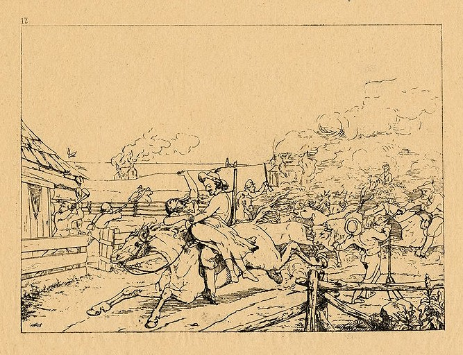 "An illustration of Charles Jennison and the 7th Kansas Cavalry Infantry, aka ""Jennison's Jayhawkers,"" launching a guerrilla attack in Missouri. Image courtesy of the Library of Congress."