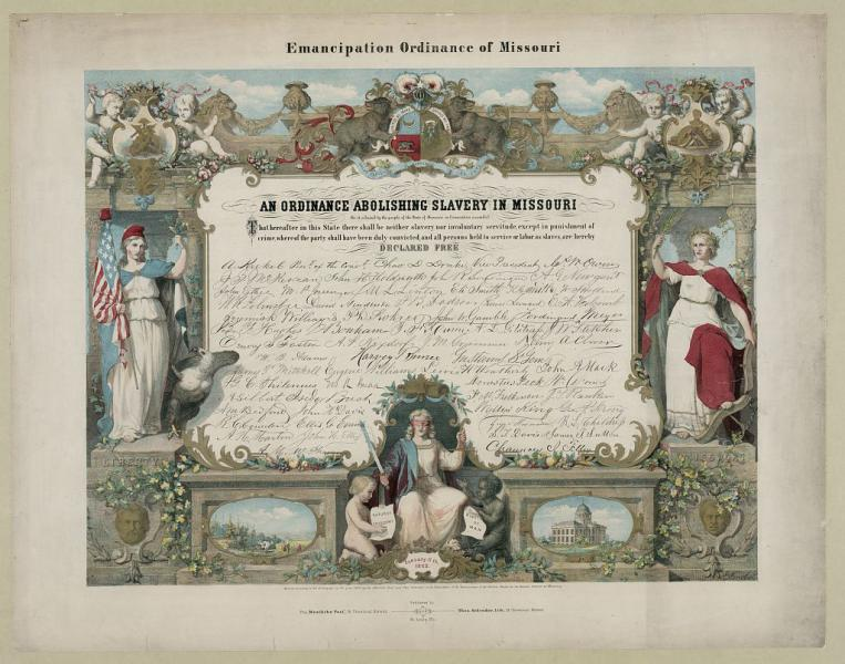 Missouri passed its official Emancipation Ordinance on January 11, 1865. Image courtesy of the Library of Congress.