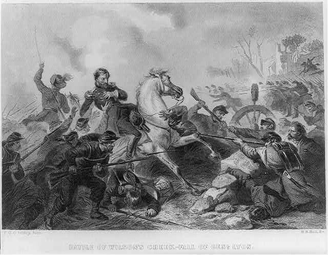 An illustration of General Lyon falling off his horse after getting shot in the Battle of Wilson's Creek. Image courtesy of the Library of Congress.