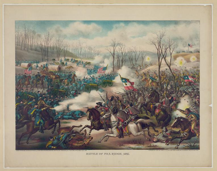 Portrait of the Battle of Pea Ridge, where Samuel Curtis led the Army of the Southwest to victory. Image courtesy of the Library of Congress.