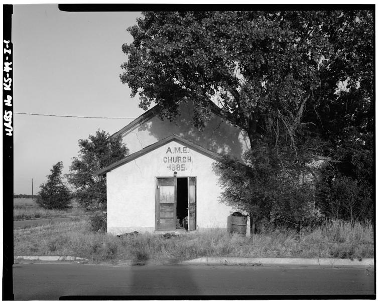 An African Methodist Episcopal (AME) Church in Kansas. Spotswood Rice served as an AME minister in Kansas and Missouri after the Civil War. Image courtesy of the Library of Congress.