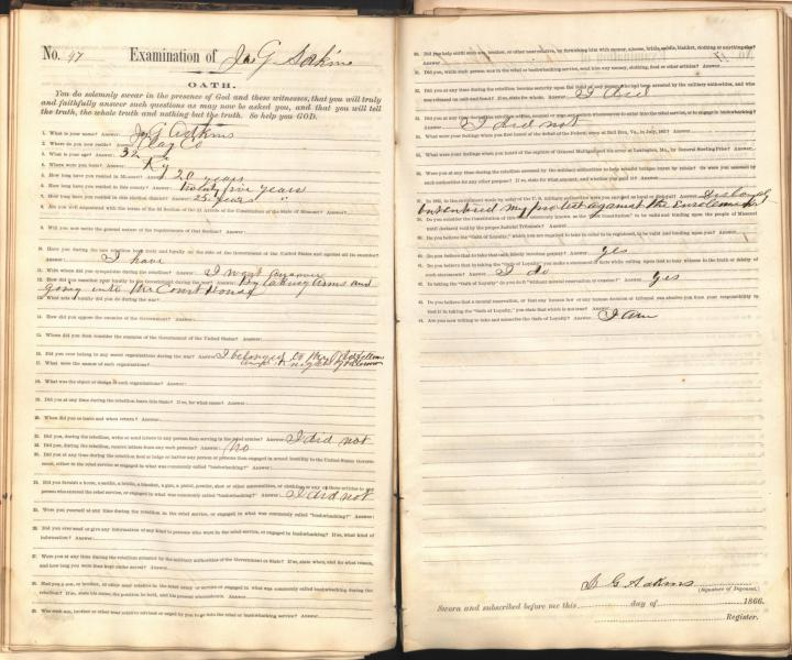 An Oath of Loyalty to the United States, signed by James G. Adkins, a resident of Clay County, Missouri.